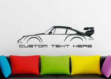 Large Custom car silhouette wall sticker - for Porsche 911 Turbo 993 RWB style